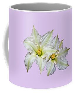 Two Clematis Flowers On Pale Purple Coffee Mug by Jane McIlroy