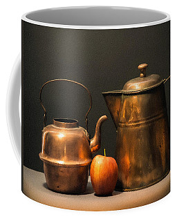 Two Copper Pots And An Apple Coffee Mug