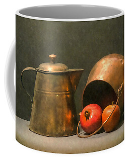 Two Copper Pots Pomegranate And An Apple Coffee Mug