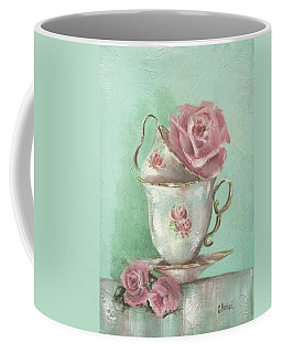 Two Cup Rose Painting Coffee Mug by Chris Hobel