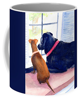Two Dogs Looking Out A Window Coffee Mug