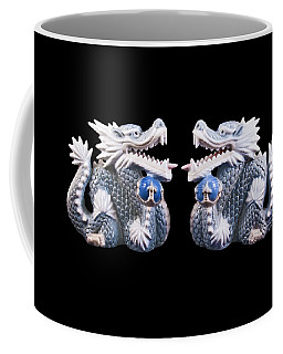 Coffee Mug featuring the photograph Two Dragons On Black by Bill Barber