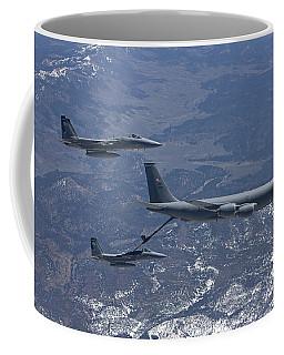 Two F-15 Eagles Conduct Aerial Coffee Mug