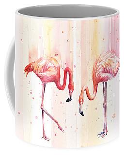 Two Flamingos Watercolor Coffee Mug