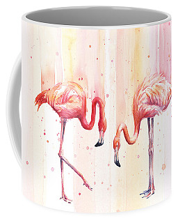 Two Flamingos Watercolor Coffee Mug