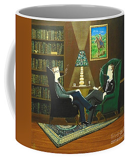 Two Gentlemen Sitting In Wingback Chairs At Private Club Coffee Mug