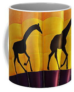 Two Giraffes Riding On A Hot Air Balloon Coffee Mug