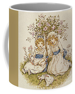 Two Girls With Dolls Sitting Under A Rose Bush, 19th Century Coffee Mug