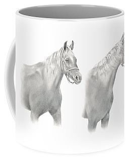 Coffee Mug featuring the drawing Two Horse Study by Elizabeth Lock