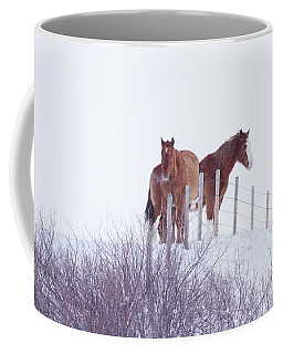 Two Horses In The Snow Coffee Mug