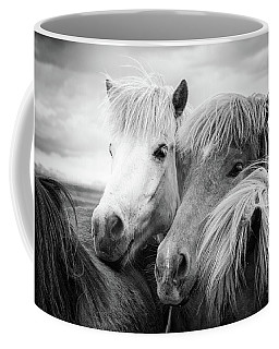 Two Icelandic Horses Black And White Coffee Mug