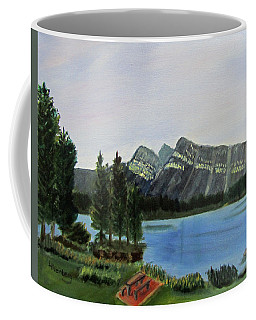 Coffee Mug featuring the painting Two Jack Lake by Linda Feinberg