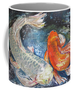 Coffee Mug featuring the painting Two Koi by Susan Herbst