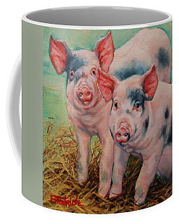 Coffee Mug featuring the painting Two Little Pigs  by Margaret Stockdale