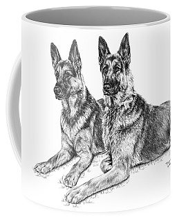 Two Of A Kind - German Shepherd Dogs Print Coffee Mug