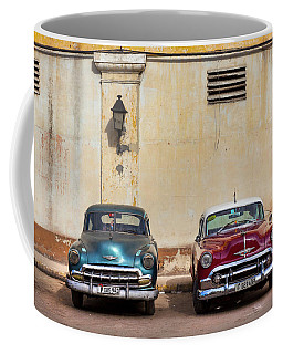 Coffee Mug featuring the photograph Two Old Vintage Chevys Havana Cuba by Charles Harden