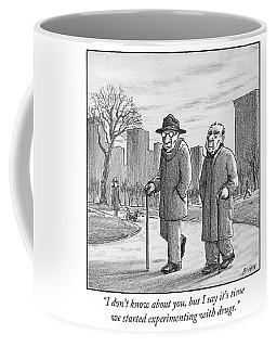 Two Older Men Walk With Canes Through A Park. Coffee Mug