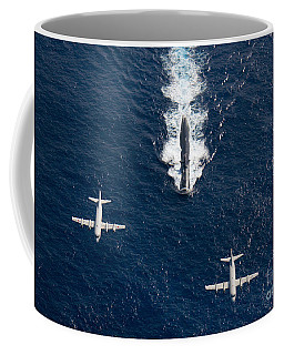 Coffee Mug featuring the photograph Two P-3 Orion Maritime Surveillance by Stocktrek Images