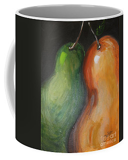Coffee Mug featuring the painting Two Pears by Jolanta Anna Karolska