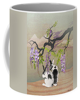 Two Rabbits Under Wisteria Tree Coffee Mug