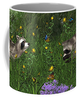 Two Raccoons  With Butterflys Coffee Mug by Walter Colvin