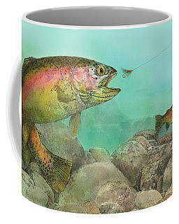 Coffee Mug featuring the painting Two Rainbow Trout by John Dyess