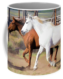 Coffee Mug featuring the digital art Two Ranch Horses Galloping Into The Corrals by Nadja Rider