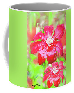 Two Red Clematis In The Rain. Coffee Mug