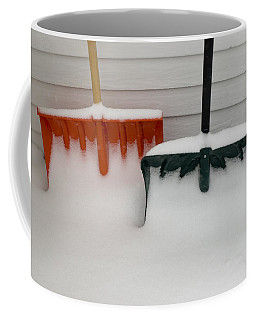 Two Snow Covered Shovels On A Porch Coffee Mug