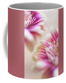 Coffee Mug featuring the photograph Two Souls. Macro Gerbera by Jenny Rainbow