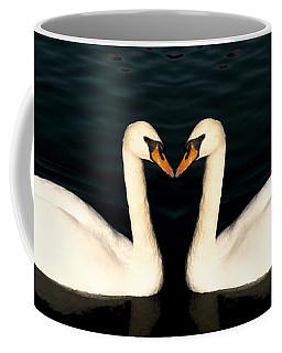 Two Symmetrical White Love Swans Coffee Mug