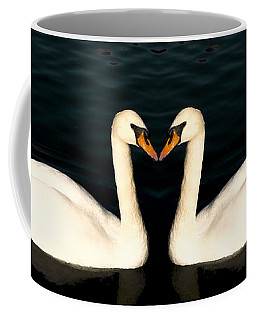 Two Symmetrical White Love Swans Coffee Mug