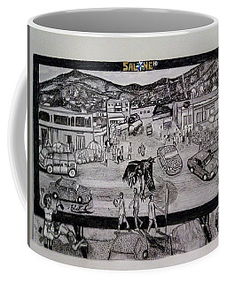 Coffee Mug featuring the drawing Two Troubles - Only One God - Sierra Leone by Mudiama Kammoh