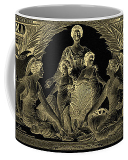 Coffee Mug featuring the photograph Two U.s. Dollar Bill - 1896 Educational Series In Gold On Black  by Serge Averbukh