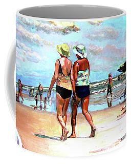 Two Women Walking On The Beach Coffee Mug