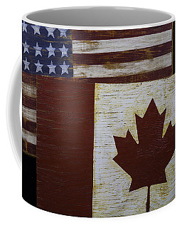 Two Wooden Flags American And Canadian Coffee Mug