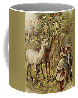 Two Young Children Feeding The Deer In A Park Coffee Mug