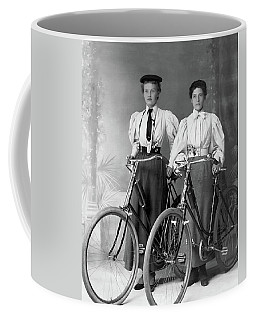 Two Young Ladies With Their Bicycles Circa 1895 Coffee Mug