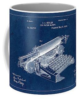 Type Writing Machine Patent From 1896 - Blue Coffee Mug