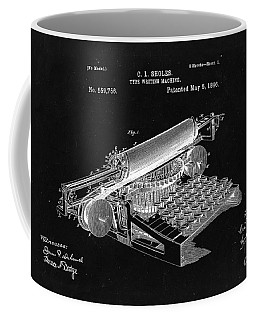 Type Writing Machine Patent From 1896  - Black Coffee Mug