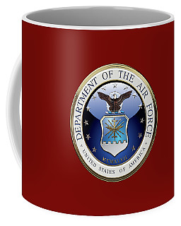 U. S.  Air Force  -  U S A F Emblem Over Red Velvet Coffee Mug by Serge Averbukh