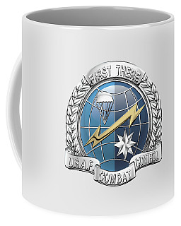 U. S.  Air Force Combat Control Teams - Combat Controller C C T Badge Over White Leather Coffee Mug by Serge Averbukh
