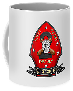 U S M C  2nd Reconnaissance Battalion -  2nd Recon Bn Insignia Over White Leather Coffee Mug