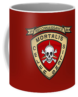 U S M C  3rd Reconnaissance Battalion -  3rd Recon Bn Insignia Over Red Velvet Coffee Mug