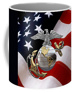 U S M C Eagle Globe And Anchor - C O And Warrant Officer E G A Over U. S. Flag Coffee Mug