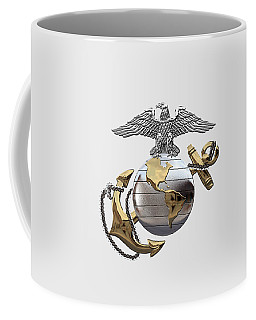 U S M C Eagle Globe And Anchor - C O And Warrant Officer E G A Over White Leather Coffee Mug