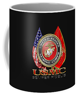 U. S. Marine Corps U S M C Emblem On Black Coffee Mug