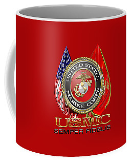 U. S. Marine Corps U S M C Emblem On Red Coffee Mug