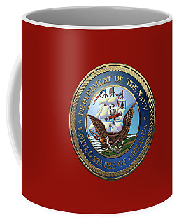 U. S.  Navy  -  U S N Emblem Over Red Velvet Coffee Mug