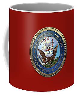 U. S.  Navy  -  U S N Emblem Over Red Velvet Coffee Mug by Serge Averbukh